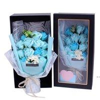 روز الصابون هدية مربع عيد الحب الأم الأم الإبداعية هدية الصابون روز حزمة هدية مربع عيد الاصطناعي الزهور باقة DHD5159