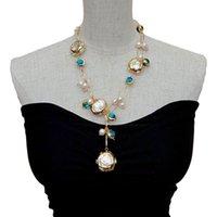 "Colares Pingente YYGEM Azul Murano Vidro Crescer Branco Keshi Pearl Pearl Chain Chain 21 ""J0722"