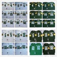 NCAA Men Football 4 Brett Favre 5 Paul Hornung 15 Bart Starr 66 Ray Nitschke 92 Reggie Белые трикотажные изделия Винтаж зеленый белый Белый Нет Имя Вышивка