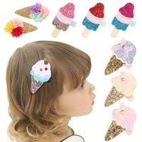 24pc / lot Glitter Filz Rosa Eiscreme Baby Mädchen Haarspange mit Mini Bogen Haarspange Nette Pailletten Gold Silk Haarnadel Neue Ankunft 121 Y2