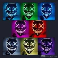 Máscara de horror de Halloween LED Máscaras resplandecientes Mascarillas de purga Mascarilla Elección Elección Disfraz DJ Fiesta Light Up Máscaras Resplandor en Dark 10 colores Envío gratis