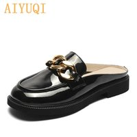AIYUQI Women's Loafers Summer Genuine Leather British Style Ladies Shoes Horsebit Casual Outdoor Baotou Half Slippers Girl 210903