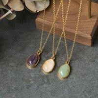 Collares colgantes de collar geométrico irregular collar de espáquera natural de piedra natural cadena de clavícula de acero de titanio 18k chapado en oro