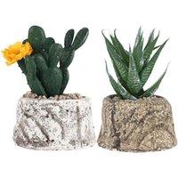 Fleurs décoratives Couronnes 2pcs Simulation Succulante Artificielle Artificielle Bonsaï Décoration de bureau Fake Plantes en pot Vert (Cactus et Aloe)
