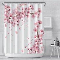 Floral Chuveiro Cortinas Romântico 3D Cherry Blossom Impressão Chuveiro Cortinas Poliéster Impermeável 180 * 180 cm Decoração de cortina de banheiro AHE4907