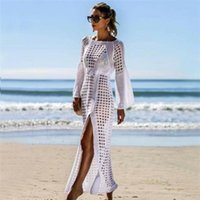 Casual Dresses Kaftan Long Dress Summer Women Knitted Hollow Maxi High Split Crochet Solid Slim Vestidos Bathing Wear
