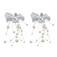 Stud 925 Silver Needle Fashion Exaggeration Personality Tide Pearl Set Diamond Lace Bow Earrings Long