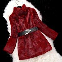 Women's Fur & Faux 100% Real Full Pelt Long Coat Female Handmade Overcoat Women Fashion FP706
