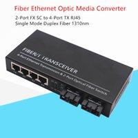 FTTH 1PCS Fibre Ethernet Оптический медиа-преобразователь 10/100 Мбит / с SMF Дуплексное волокно 2FX SC до 4TX UTP RJ45 Wavelth 1310nm 20 км