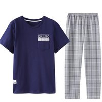 Мужские спящие куски для съемки клетчатые шеи печать китайский пижамы повседневный стиль мужская пижама Pijama набор домашних домохозяек