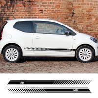 2 adet Vinil Araba Çıkartmaları Şık Spor Otomobiller Yan Çizgiler Etek Çıkartması DIY Volkswagen VW Up Araba Styling Için Oto Aksesuarları