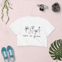 Women's T-Shirt Flower Crop Top Let It Grow Floral Graphic Cute Flowers Fashion Pure Cotton Sexy Street Style 90s Youngs Hipster Tee
