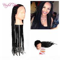 Boîte afro-américaine tresses Boîtes Synthetic Dentelle Avant Perruques Kanekalon Synthétique Perruques tressées pour femmes noires Marley Twist