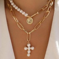 Earrings & Necklace European And American Style Cross Creative Retro Seal Inlaid Artificial Pearl Sweater Chain For Women