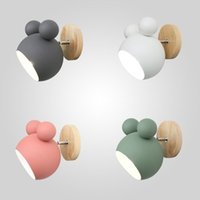Children's wall lamp, Nordic style, wooden, fluffy, cartoon, colorful, for kitchen, restaurant, macaroon, decorative bedside lights e27 BD2223