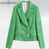 Aoniberier Fashion Simple Plaid Plaid Tweed con muescas con muescas de doble pechuga de doble pecho Blazers Femenino Inglaterra Pockets de estilo Abrigos cortos