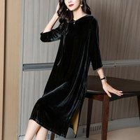 ROY Real Velvet платье женщин 2021 весенний новый оригинальный дизайн тяжелый шелковый бархатный средняя длина черный