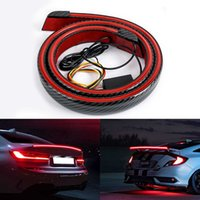 Car Carbon Fiber Rear Spoiler Wing Rear Tail Lights Bar Turn Signal Lights DRL Brake Lamp Strip 12V Car Accessories For BMW Audi