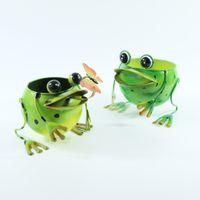 귀엽고 창의적인 간단한 발코니 장식 시뮬레이션 즙이 많은 식물 동물 철 프레임 개구리 2 조각 꽃 냄비 장식품