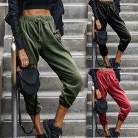 Plus Size Harem Pantaloni Donne Vita alta Hip Hop Colore Solido Autunno Moda allentato Femmina Femmina Sport Pantaloni sportivi Lace Up