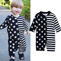 Boys Rompers Baby Bodysuits Clothes Infant Jumpsuit Onesies Long Sleeve Round-Neck Star Striped Newborn One Piece Clothing B6176