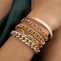 Dvacaman Vintage Charm 5 ШТ. / Установить полые цепные Браслеты кисточки Женщины Мода Простое сердце в форме металлические браслеты металлические браслеты 2021