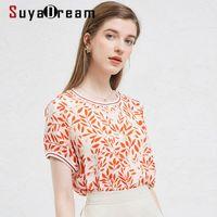 Suyadaream elegante mujer blusa 100% real seda crepe rojo estampado blusa camisa o cuello 2021 camisas de verano