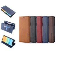 Caja de cuero de la cartera de cuero de la PU del imán clásico para el iPhone 11 x 7 8 con la caja del soporte de la ranura Huawei 5 colores opcional