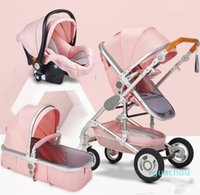 High Landscape Baby Stroller 3 in 1 Hot Mom Pink Stroller Travel Pram Carriage Basket Baby Car seat and Trolley
