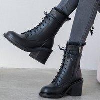 Punk Goth Creepers Mujeres con cordones de cuero genuino Invierno Botas de montar caliente Top Top Tobre alto Bombas de tacón alto Zapatos Zapatos casuales 25ke #