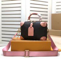 2021 Best Malle 디자이너 품질 Petite Luxurys Souple 여성 캔버스 가방 상자 어깨 복숭아 핸드백 가방 최신 소 가죽 가죽 DTBSP