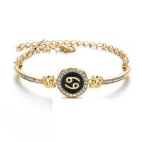 Geburtsschmuck-Konstellationen 12 Tierkreiszeichen Charme Armbänder für Frauen Männer Geburtstagsgeschenk Zirkon Zodiac-Armband