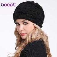 [BOART] Мягкая ангора кролик сгиба вязаная капота шляпа для женщин шапки повседневная мода леди чепульсы шапочки теплые женские зимние шляпы 210203