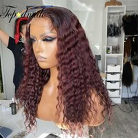 Lace Wigs Topodmido 99J Ombre Color 13x4 Front With Baby 4x4 Closure Remy Human Hair Wig Brazilian Glueless