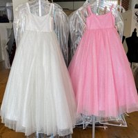Little Miss Pageant Dress for Teens Juniors Toddlers Infant 2021 Sequins White Pink Long Girls Prom Gown Formal Party rosie Zipper-Back Straps Neck