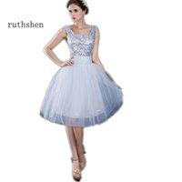 Ruthshen Vestido Curto 2020 Kısa Ucuz Gelinlik Modelleri Dantelli Tül Payetli Junior Örgün 8. Sınıf Mezuniyet Parti Elbise L0312