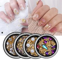 Nail Art Decorations 3D Charms Moon Star Metal Pearls Nails Sequins Hollow Out Slice Press On Tips Rhinestones Mixed Size Manicure Supplies