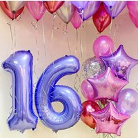Party Decoration 1PC 40inch Purple Green Foil Number Balloons Figures Inflatable Balls Baby Shower Birthday Wedding Supplies