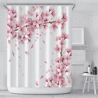 꽃 샤워 커튼 로맨틱 3D 벚꽃 인쇄 샤워 커튼 폴리 에스터 방수 180 * 180cm 욕실 커튼 장식