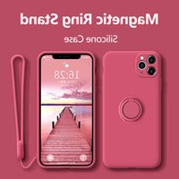 With Ring Silicon Case For iPhone 11 Pro Max XR X XS 6 8 Plus SE 2020 12 Mini Luxus Holder Magnetic Soft Lanyard Phone Coverage