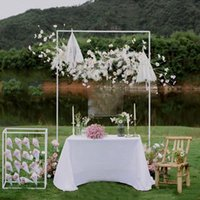 Party Decoration Wedding Event Props Arch Iron Stand Square Shelf Stage Backdrop Frame Decorative Artificial Flowers
