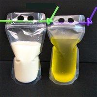 100pcs 클리어 음료 파우치 가방 서리 낀 지퍼 스탠드 플라스틱 플라스틱 마시는 가방 홀더로 짚으로 깨련 된 열 증거 1 17oz 424 S2