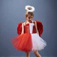 Devil Angel Two Face Face Halloween Costume Robe pour fille Princess Robes Rouge Evil Cosplay Outfit Déguisement Vêtements Vestido Robe H0828