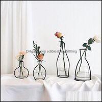Décor & Gardenretro Iron Line Vase Plant Flower Home Decoration Metal Holder Nordic Styles Vases Ornament Creative Decor Drop Delivery 2021