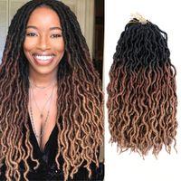 20-дюймовые ommre вьющиеся вязание крючком для волос синтетические плетеные наращивания волос богиня Искусственные логи Мягкие бобыши Дреды волосы 18strands / pack