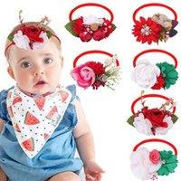 New Rhinestone Pearl Lace Flower Nylon Headband,Baby Girl Children Flower Nylon Turban Kid Christmas Hair Accessories