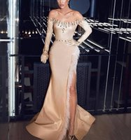 Gorgeous Satin Mermaid Evening Dresses Champagne Sheath Long Sleeves Crystal Beaded Prom Dress High Split Noble Pageant Formal Party Gowns