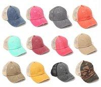 DHL 선박 Ponytail 야구 모자 여성을위한 지저분한 롤빵 모자 씻어 코튼 스냅 백 모자 캐주얼 여름 태양 바이저 야외 모자 DB533