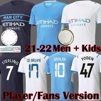 Camisas de futebol de manga longa 2021 do Manchester City Camisa de futebol DE BRUYNE KUN AGUERO FC Man City FODEN Equipment 21 22 Man Kids kits