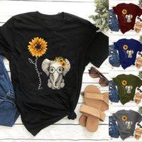 Women's T-Shirt Women Fashion Tops Short Sleeve Sunflowers Cute Small Elephant Print Graphic T Shirts Bohemia Style Loose Tees